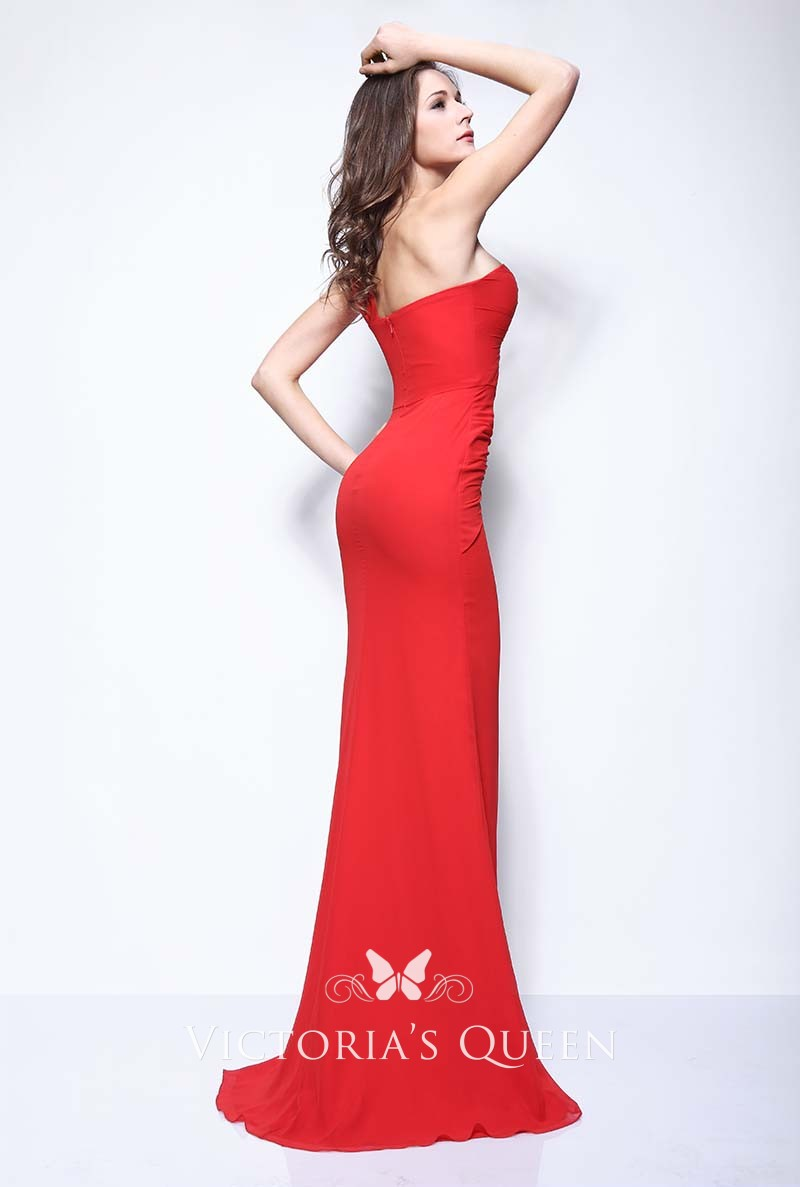 1d44f5a149f one shoulder strap red evening prom dress. Kim Kardashian one shoulder  strap red mermaid evening prom dress LACMA