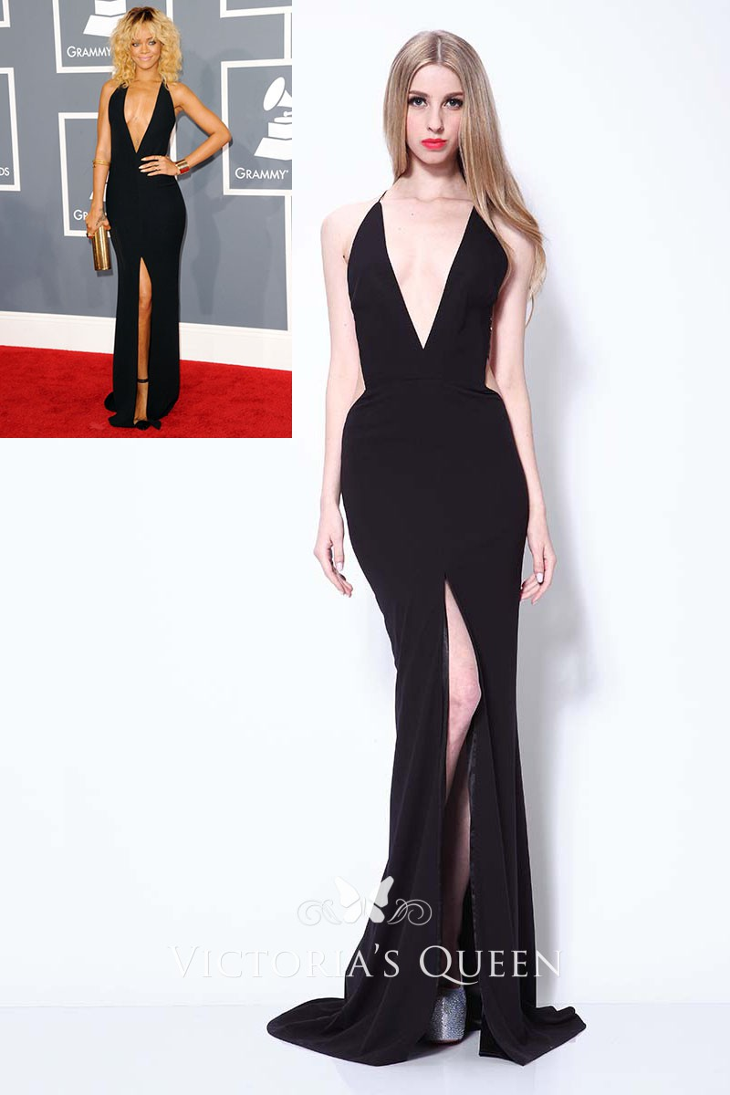 03d47d75f5 Rihanna sexy black plunging slit celebrity prom gown Grammys red carpet