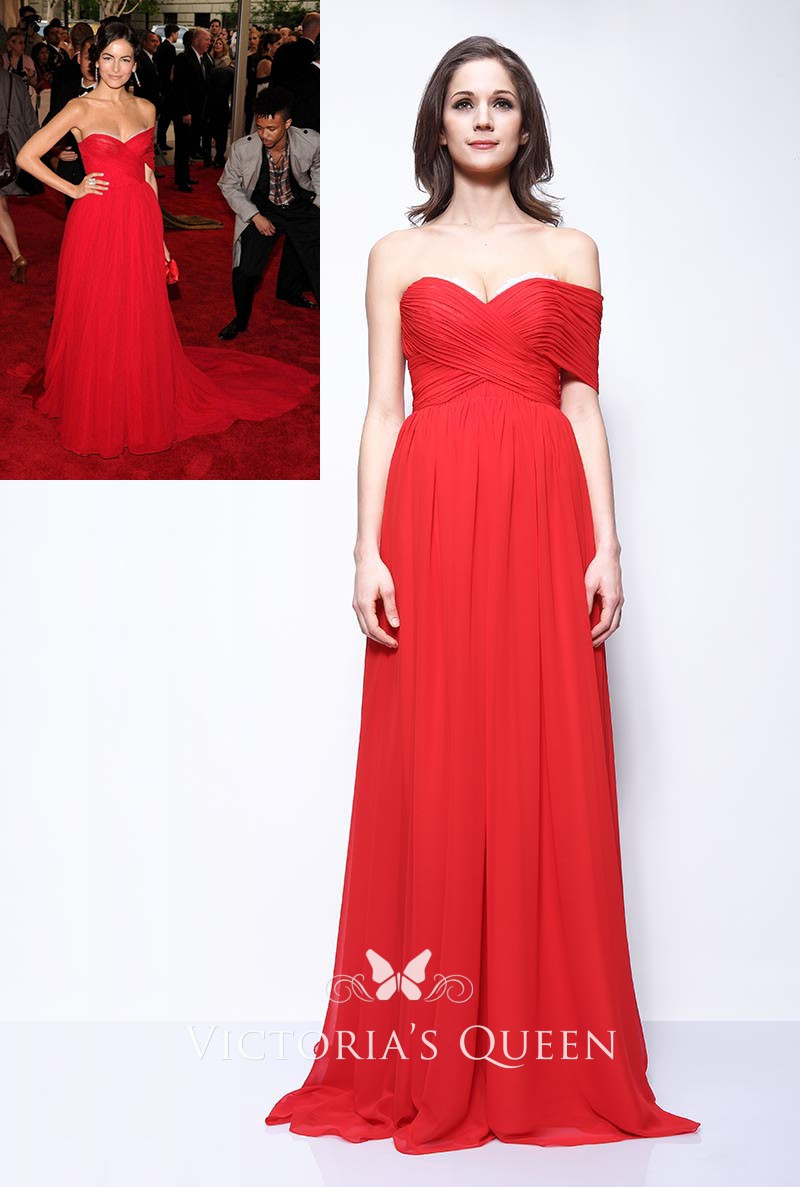 458540844b Pleated red chiffon one shoulder celebrity Camilla Belle red carpet dress