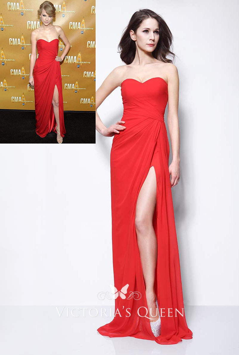 Taylor Swift Red Halter Prom Dress