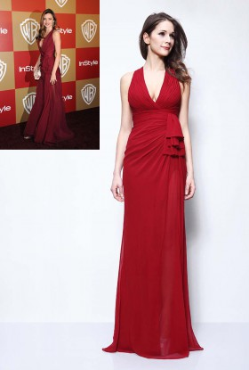 c0cf1d19db97 Pleated burgundy chiffon deep V neck Miranda Kerr celebrity prom dress  Golden Globes
