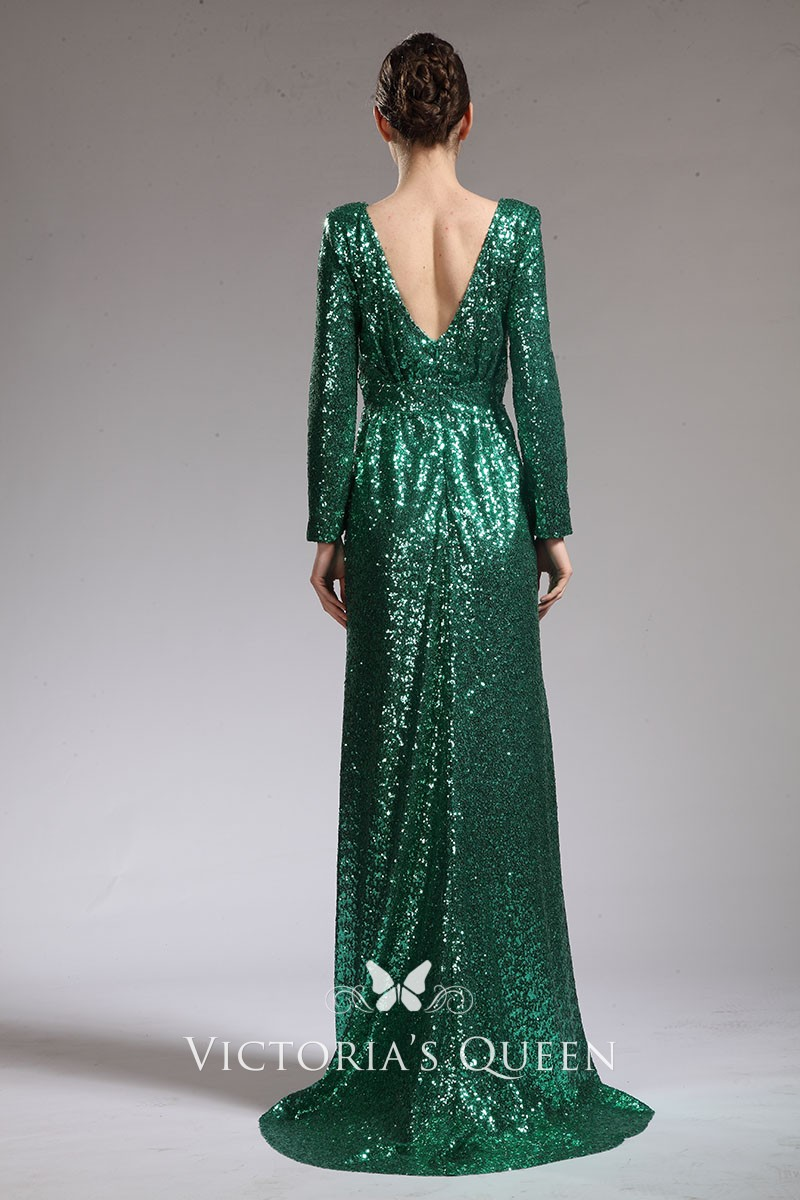 Green Sequin Long Sleeve Celebrity Evening Prom Dress Vq