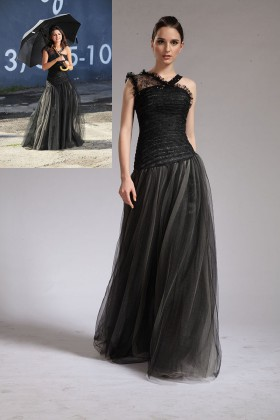 6ea1d90a6263 Black lace and tulle Asymmetrical strap Selena Gomez celebrity long prom  dress