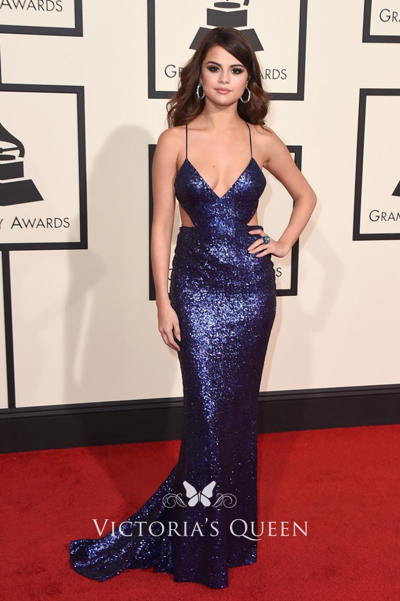 8a212c9ac6 Selena Gomez Navy Blue Sequin Mermaid Red Carpet Prom Dress Grammys 2016