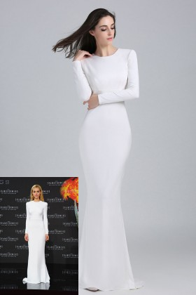 4f2e3863fbc5 elegant long sleeve crew neck white slim long celebrity evening dress  Nicola Peltz