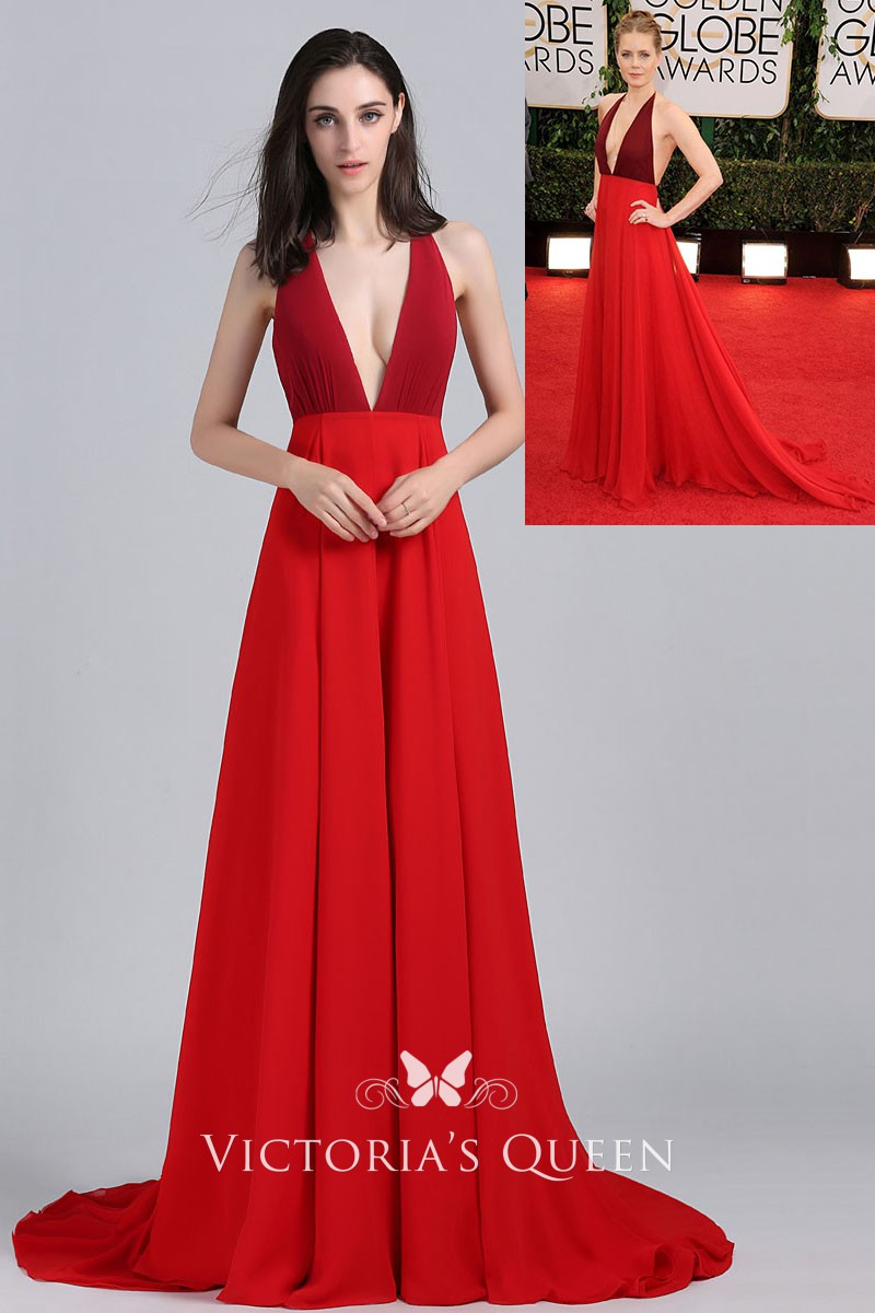 Amy Adams Two-tone Plunging V-neck Red Prom Dress Golden