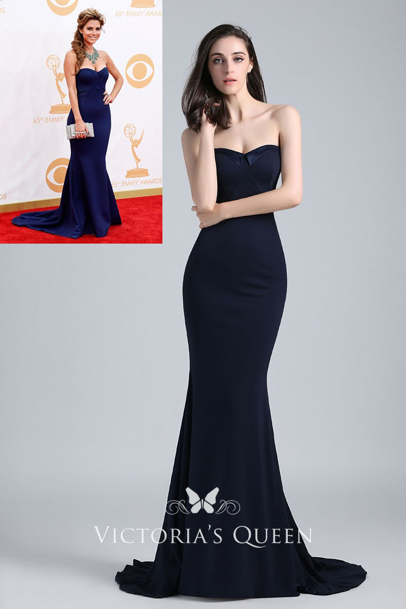 classic strapless mermaid navy red carpet evening dress Maria Menounos  Emmys 2013 4eb8819df22b