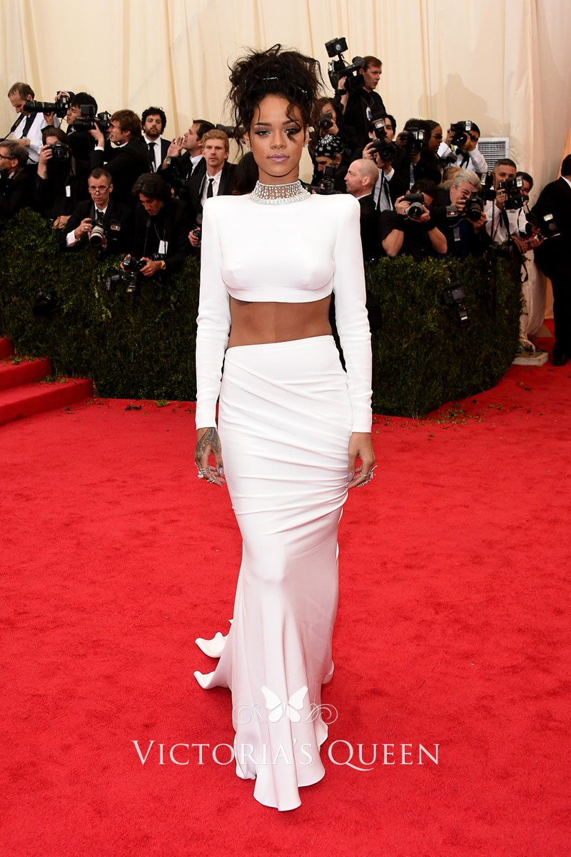 Rihanna white unique beaded high neck long sleeve two piece mermaid prom  dress 0a53a5a5c