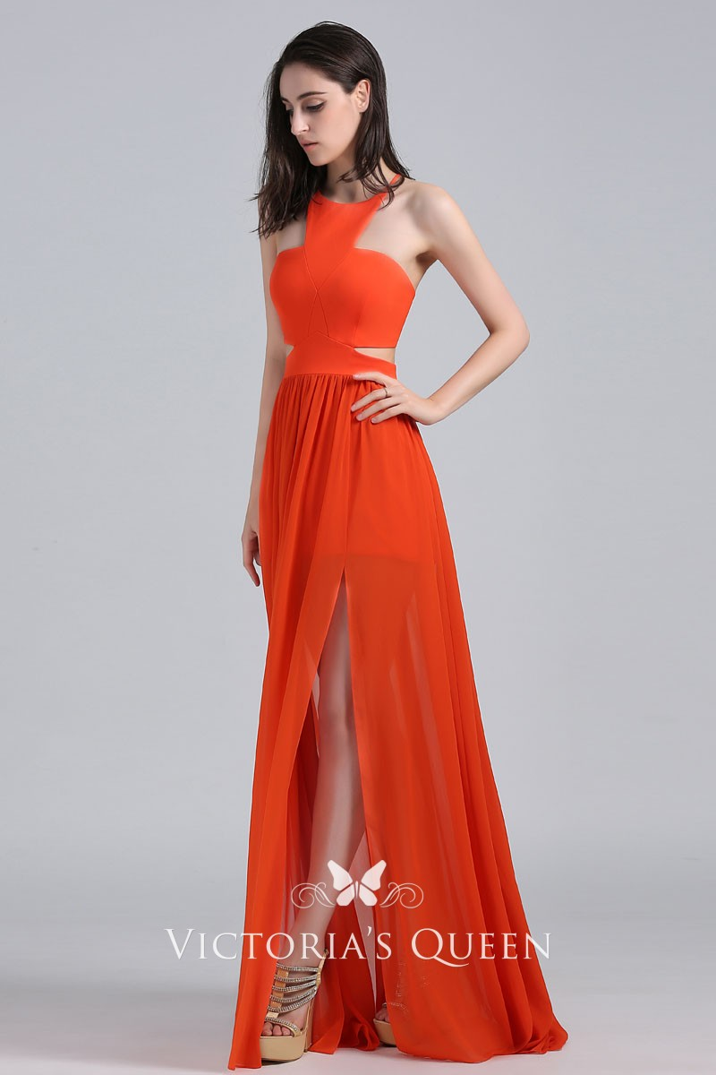 Halter Neck Lace Up Back Cutout Orange Chiffon Celebrity