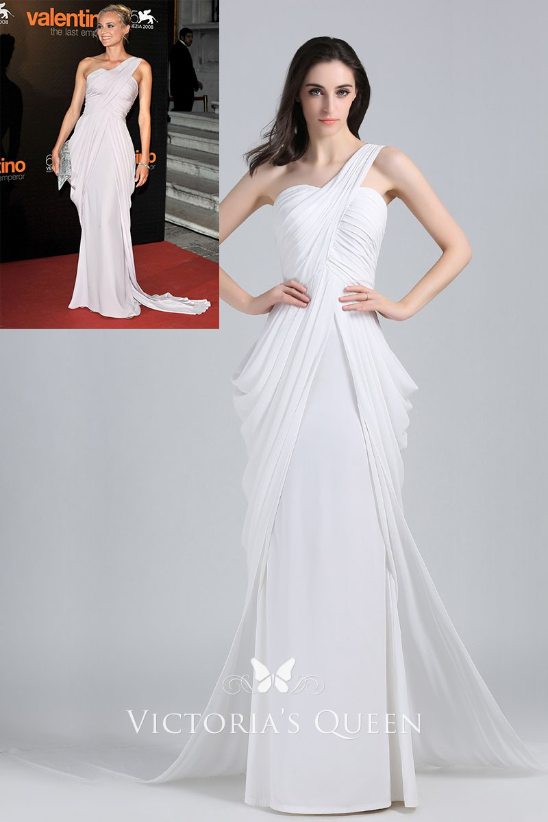 One Shoulder Draped White Chiffon Evening Prom Gown Vq