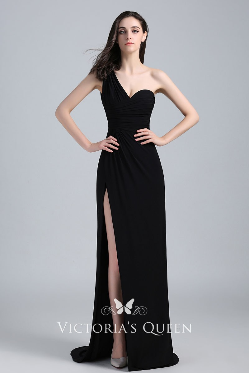 43e4003a3bf3 Black One Shoulder Floor Length Side Slit Celebrity Prom Dress ...