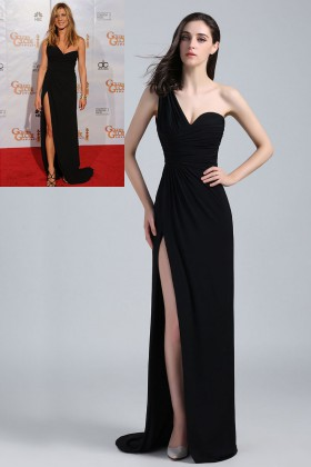 96f9a593ef60 Black one shoulder floor length side slit celebrity prom dress Jennifer  Aniston
