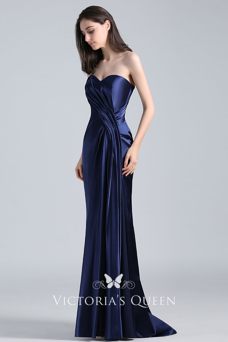 Navy Blue Draped Satin Vintage Strapless Long Prom Dress