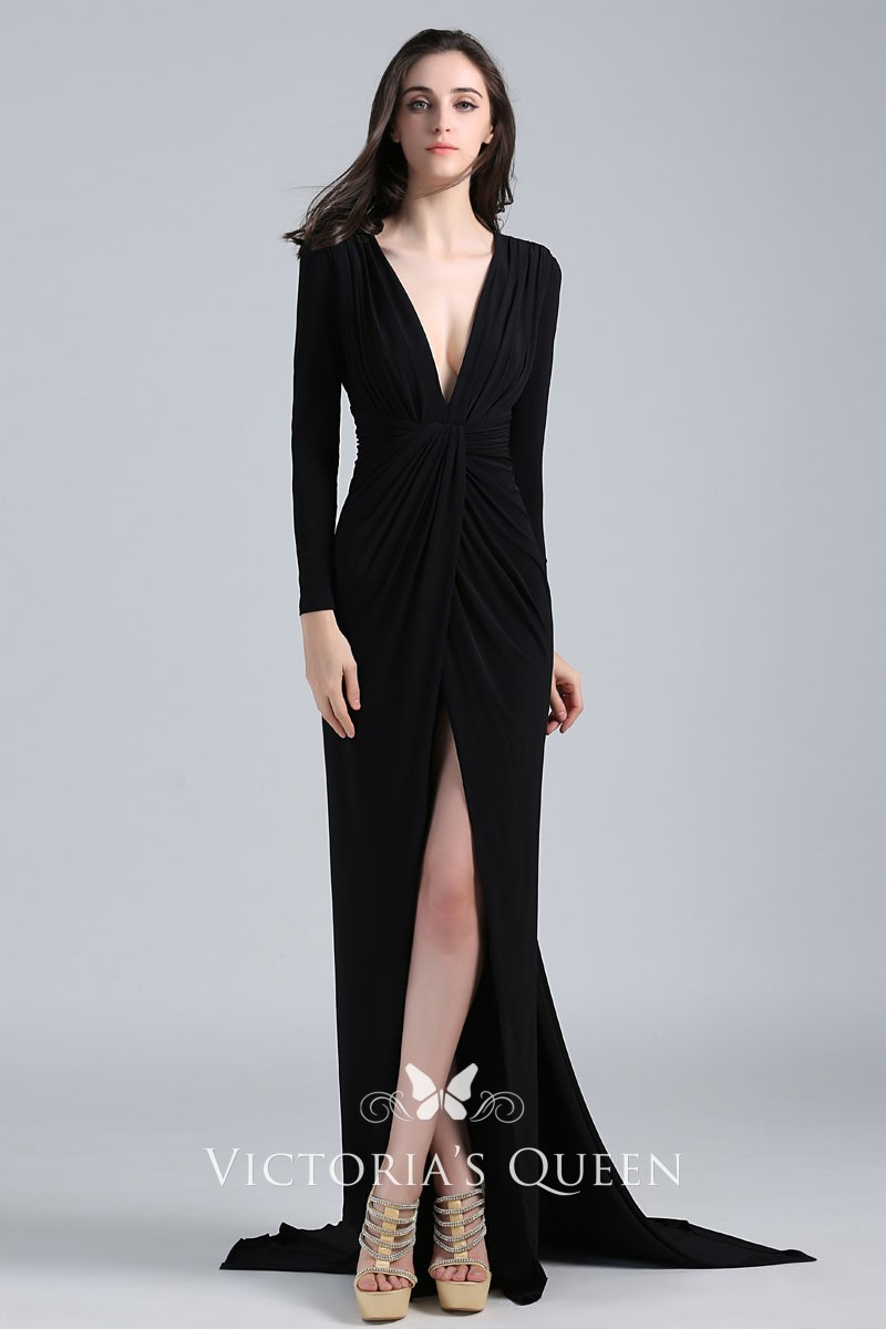 Black Sexy Long Sleeve Plunging V Neck High Slit Kat