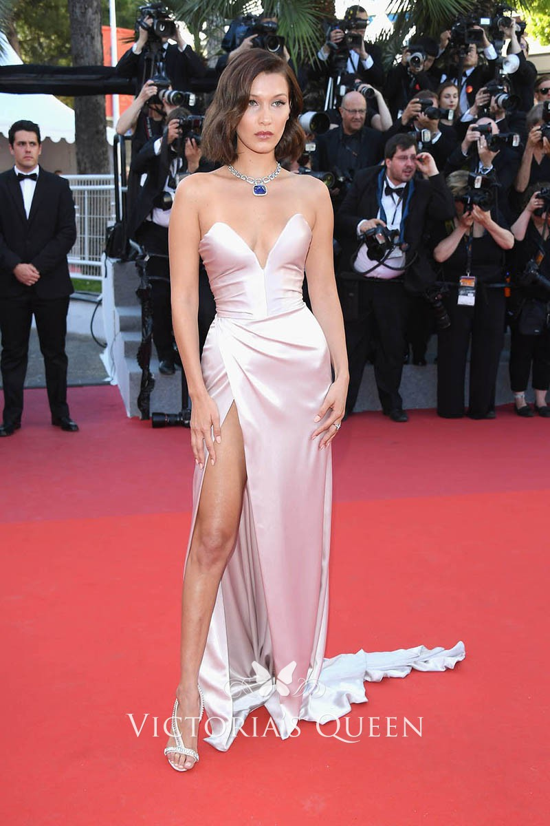 Bella Hadid Sexy Blush Charmeuse Strapless