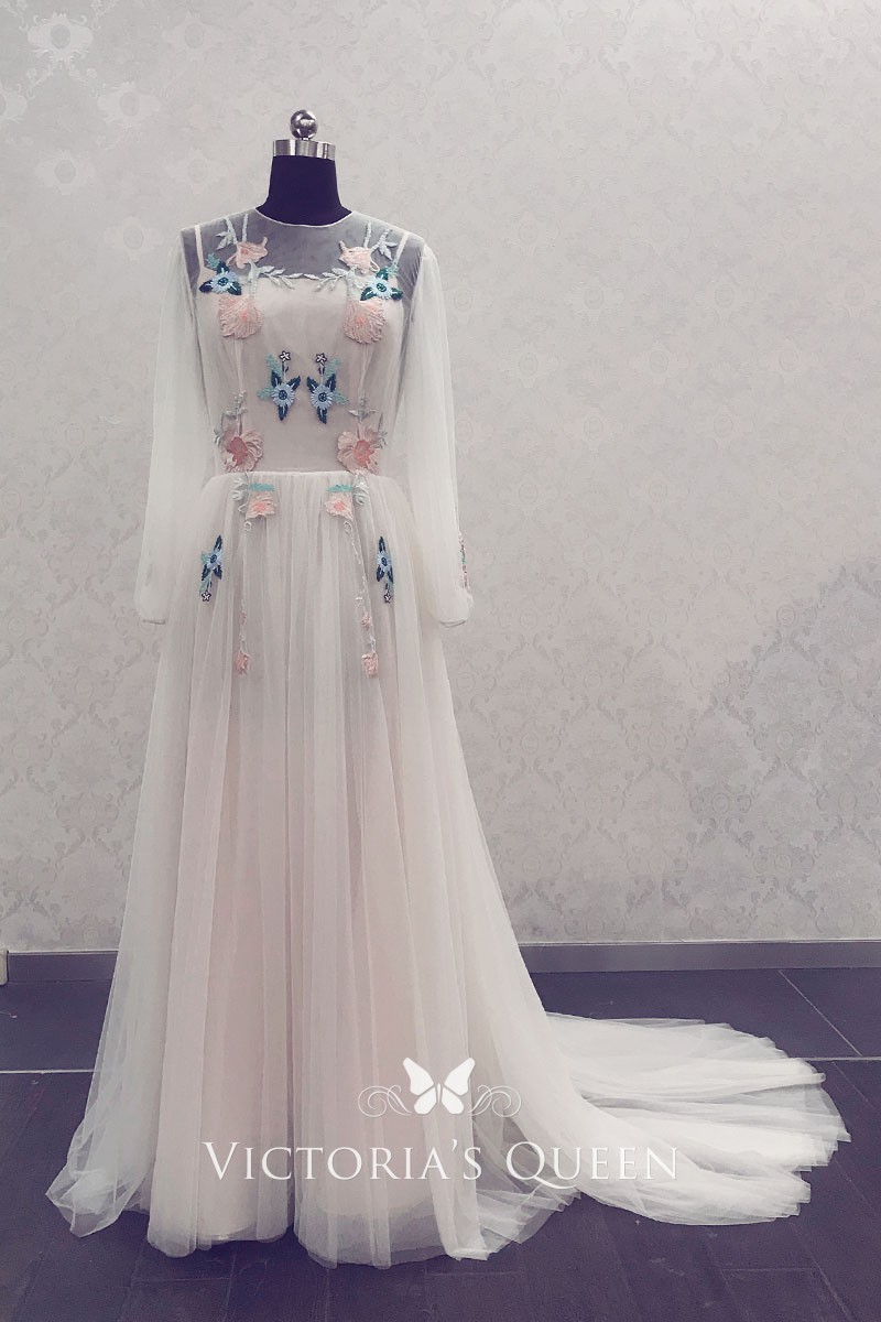 Fairy Wedding Dress.Sheer Soft Tulle Fairy Floral Embroidered Long Sleeve Wedding Dress