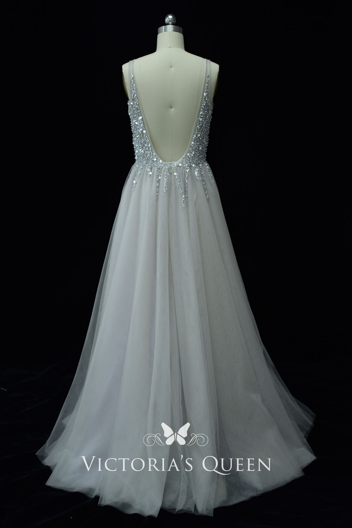 Plunging Light Grey Tulle Prom Dress