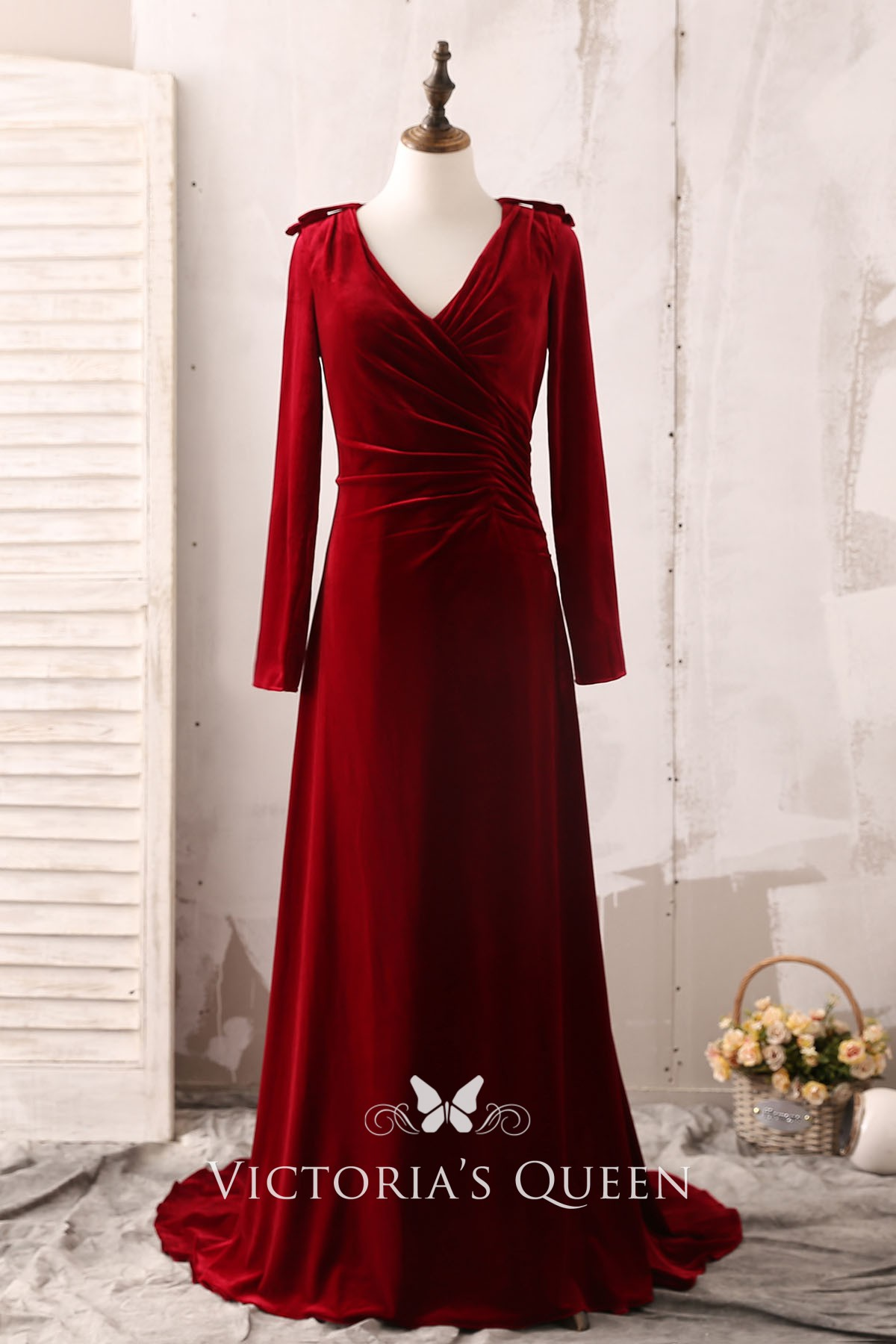 Elegant Long Sleeve V Neck Burgundy Velvet Formal Dress Vq