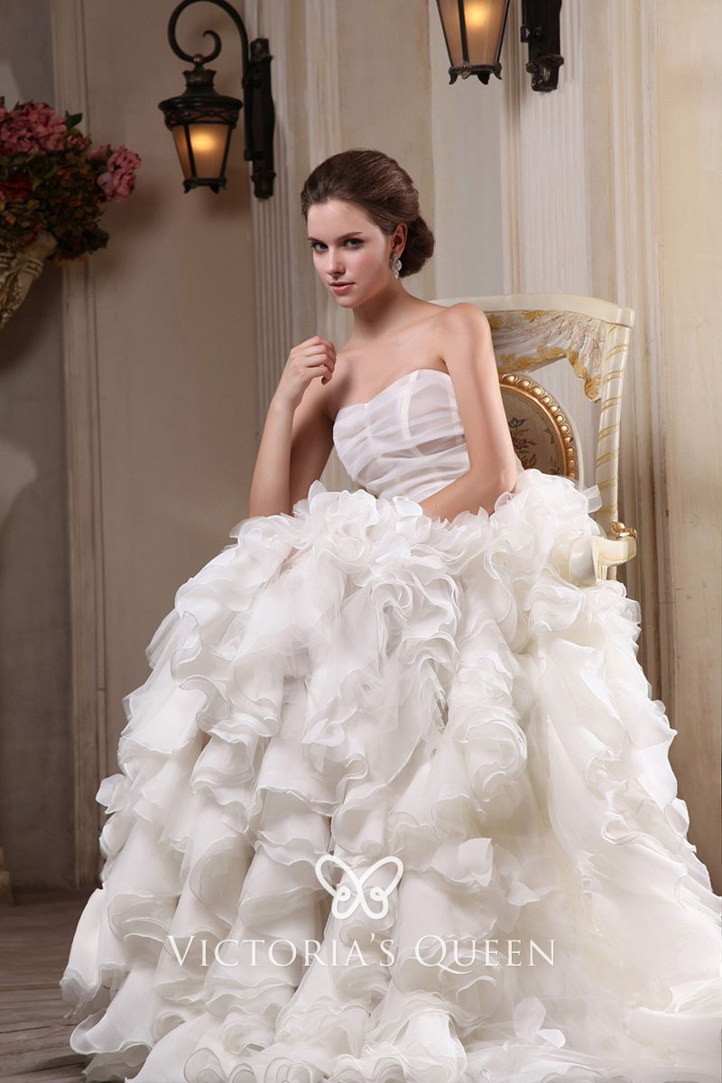 4a223cb2 Subtle ivory cascading ruffled organza strapless sheath long wedding gown