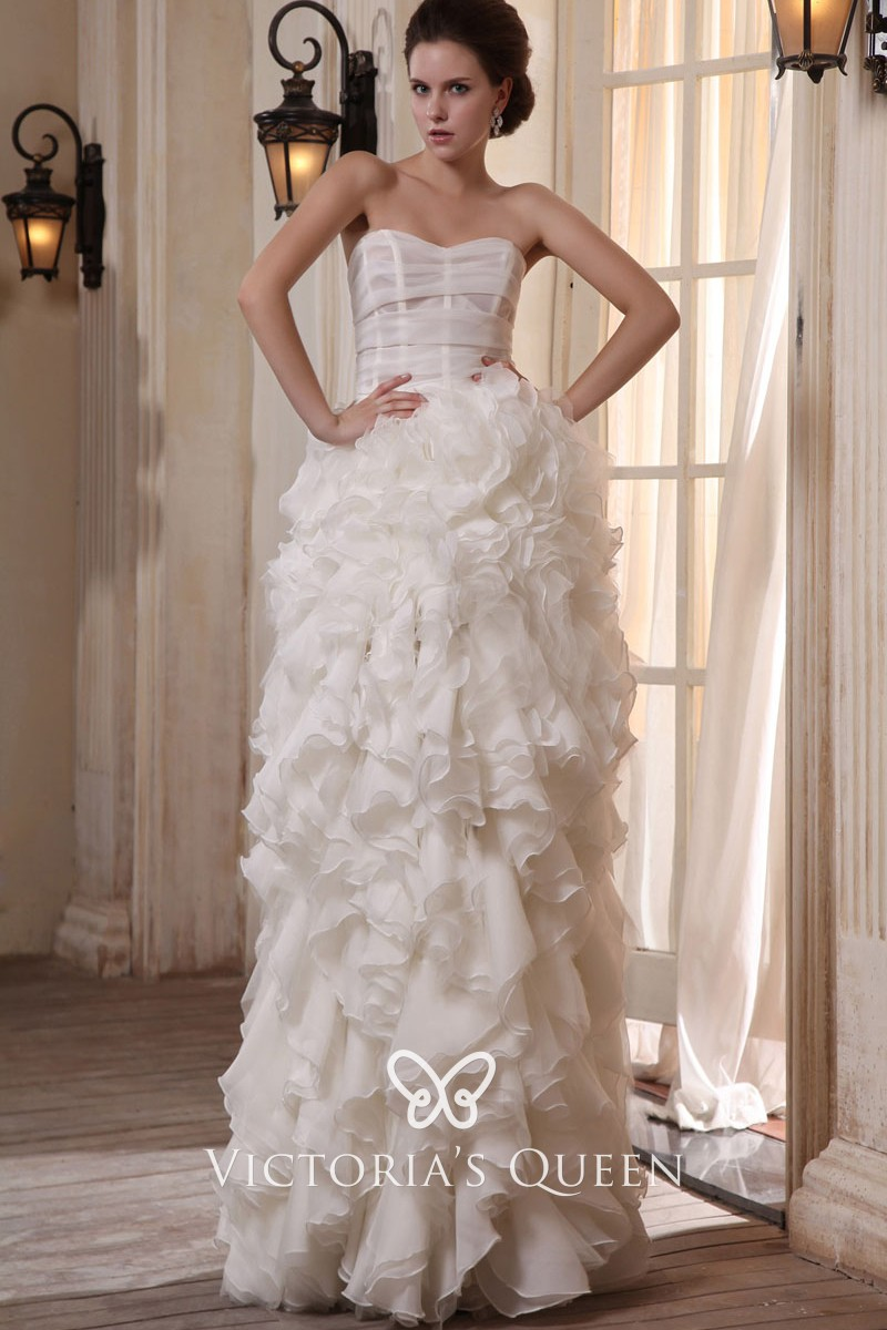 3ac62910 Subtle Ivory Cascading Ruffled Organza Strapless Sheath Long Wedding ...