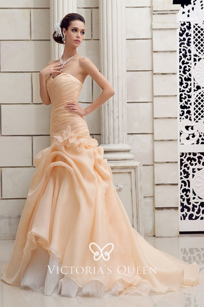 Champagne Chiffon Sweetheart Ruched Draped Wedding Gown Vq