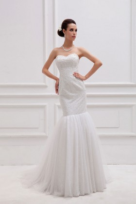 b36bd2108a2ff Sparkly pearls embellished off white drop waist trumpet long wedding gown