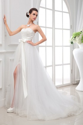 b49b7fea06f9 White satin lace and tulle overskirt strapless sweetheart informal wedding  dress