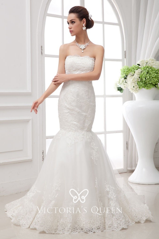 Size 12 14 16 18 Champagne Wedding Dress Lace Mermaid Strapless Sequins Beads