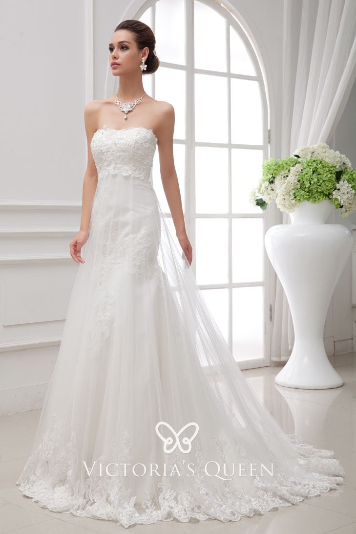 Strapless White Lace And Satin With Tulle Overlay Mermaid Romantic Wedding Dress