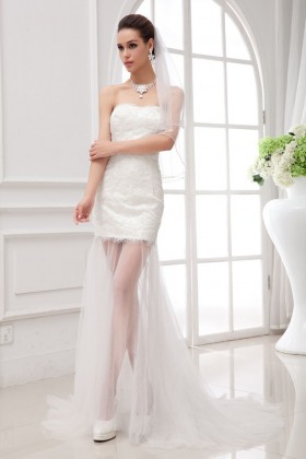 4218a321c6fa ivory satin and lace short informal wedding dress with sheer tulle skirt