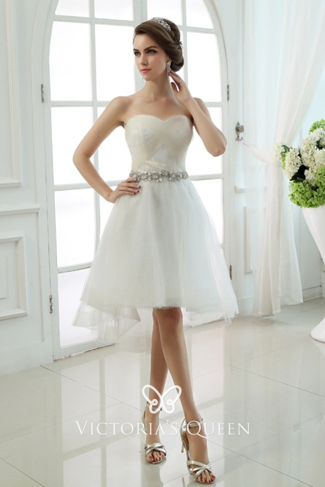 Criss Cross Pleated Tulle Overlay Short Bridal Dress Vq