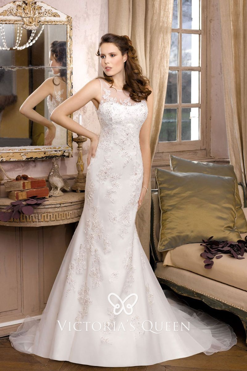 Lace Illusion Neckline Fit And Flare