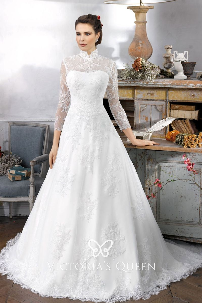 illusion long sleeve high-neck white lace wedding gown