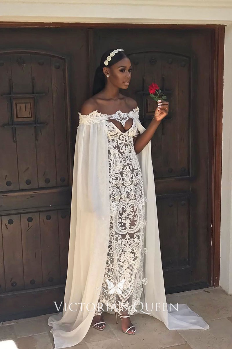 White Sheer Lace Off The Shoulder Caped Wedding Dress