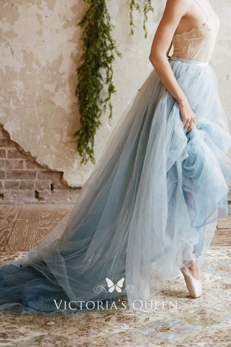 Dusty Blue Tulle Long Bridal Dress