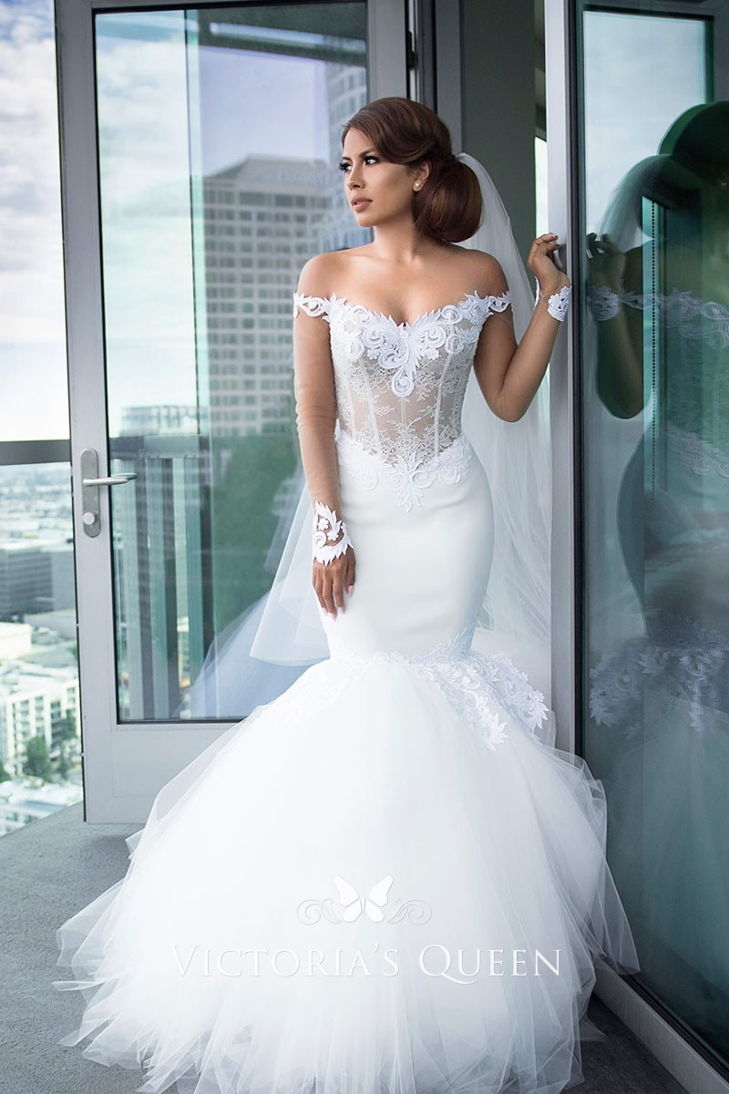 White Lace Tulle Off Shoulder Mermaid Wedding Dress