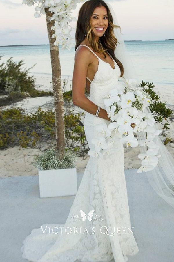 where to buy great deals 2017 uk cheap sale Ivory Lace V-neck Open Back Mermaid Beach Wedding Dress