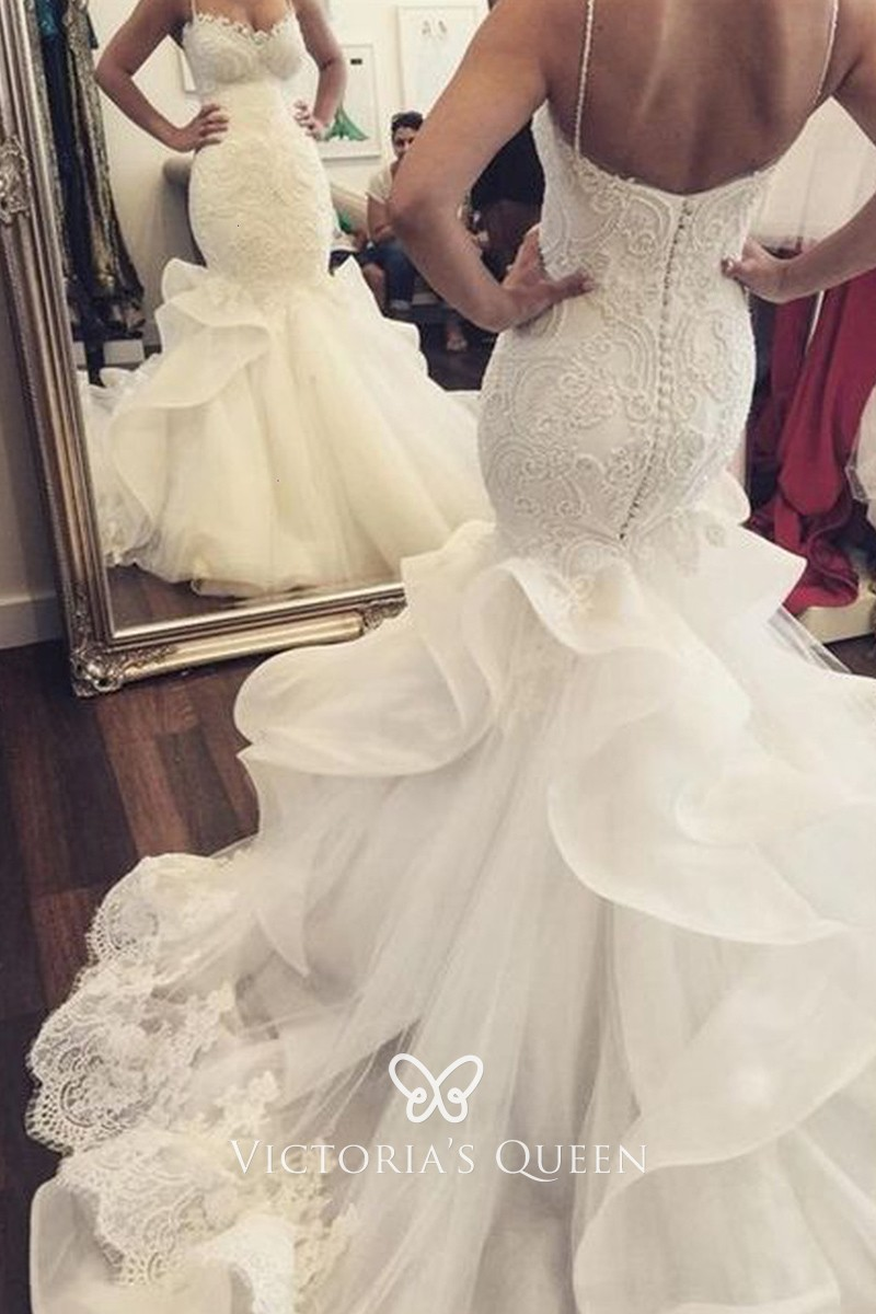 White Lace Tulle Ruffled Chapel Train