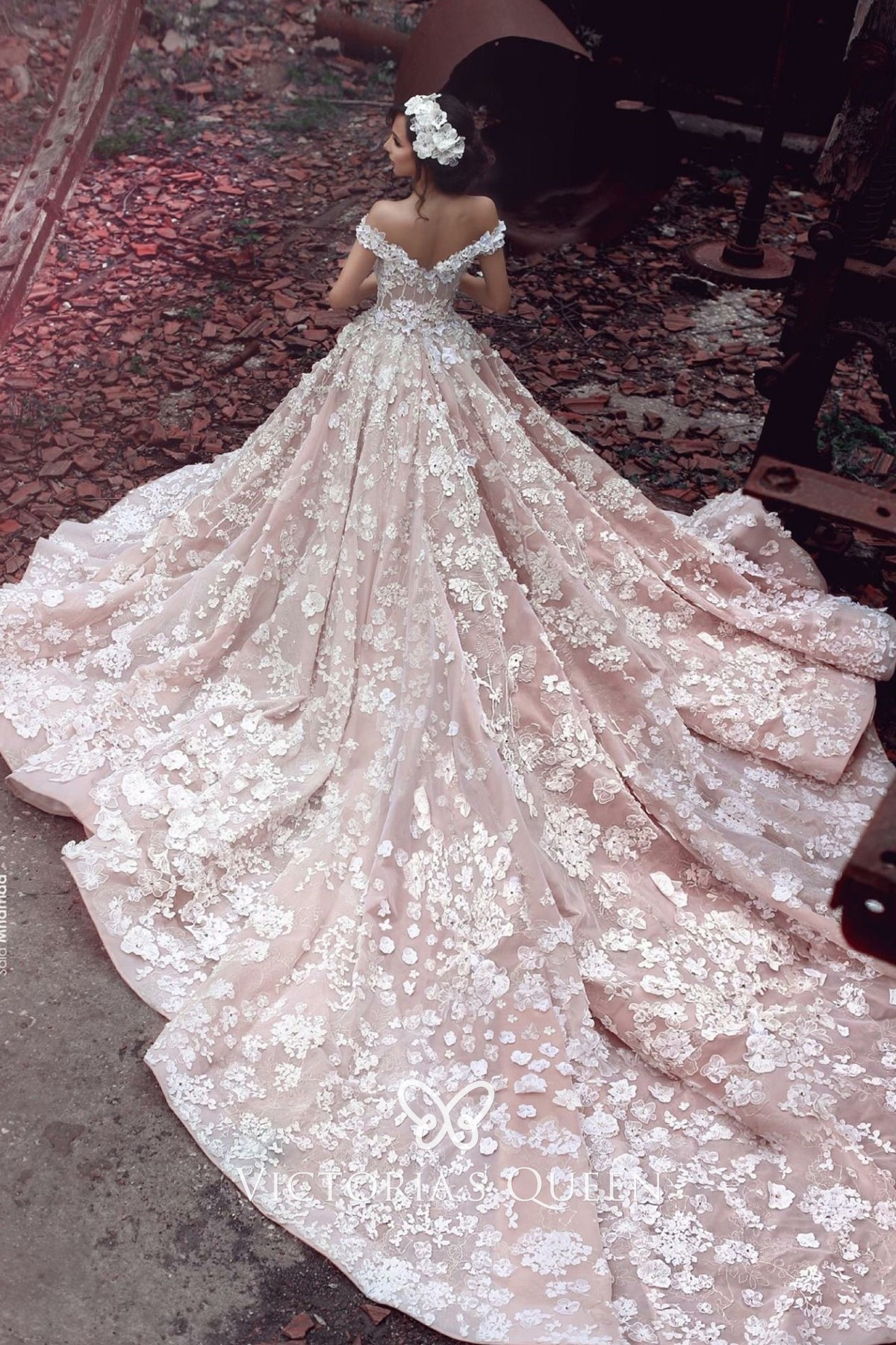 Floral Lace Nude Pink Wedding Gown with Cathedral Train