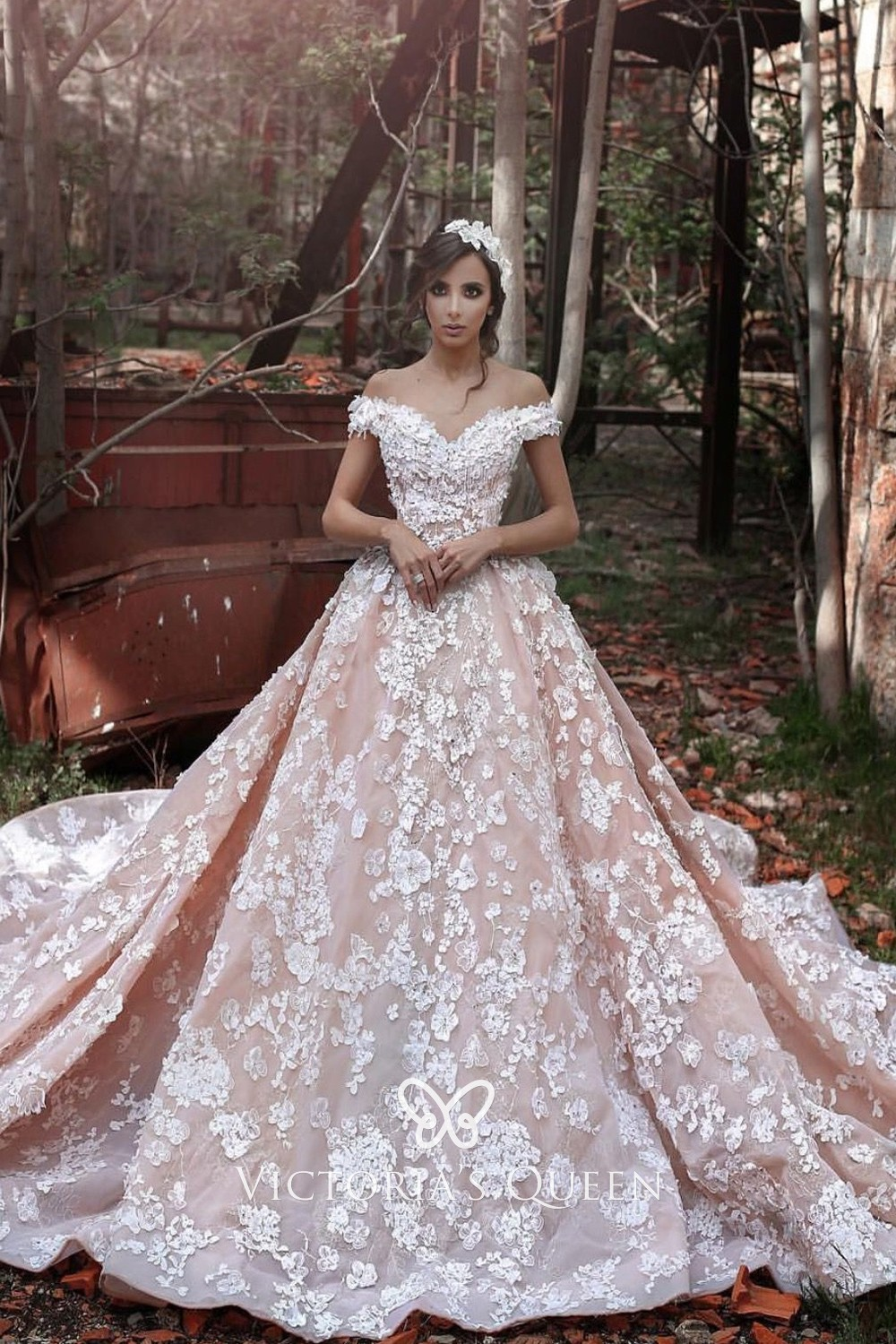 Floral Lace Nude Pink Wedding Gown with