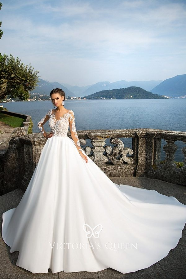 Illusion Lace Long Sleeve Satin Ball Gown Wedding Dress Vq