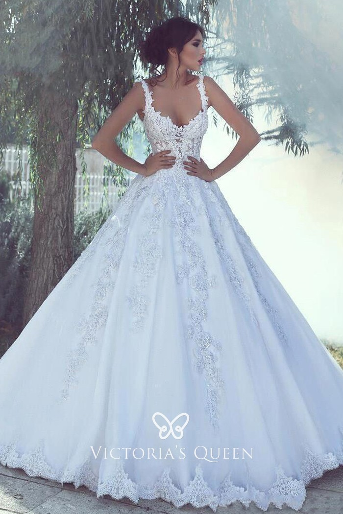 White Lace and Satin Classic Ball Gown Wedding Dress