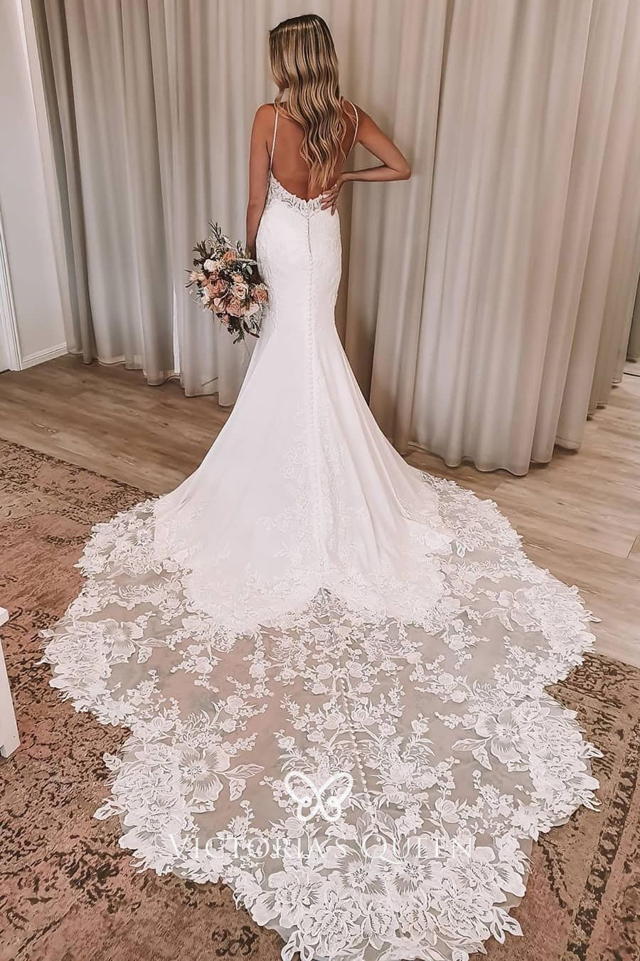 Low Back Floral Lace Chapel Train Mermaid Wedding Dress Vq,Cowboy Boots And Wedding Dress