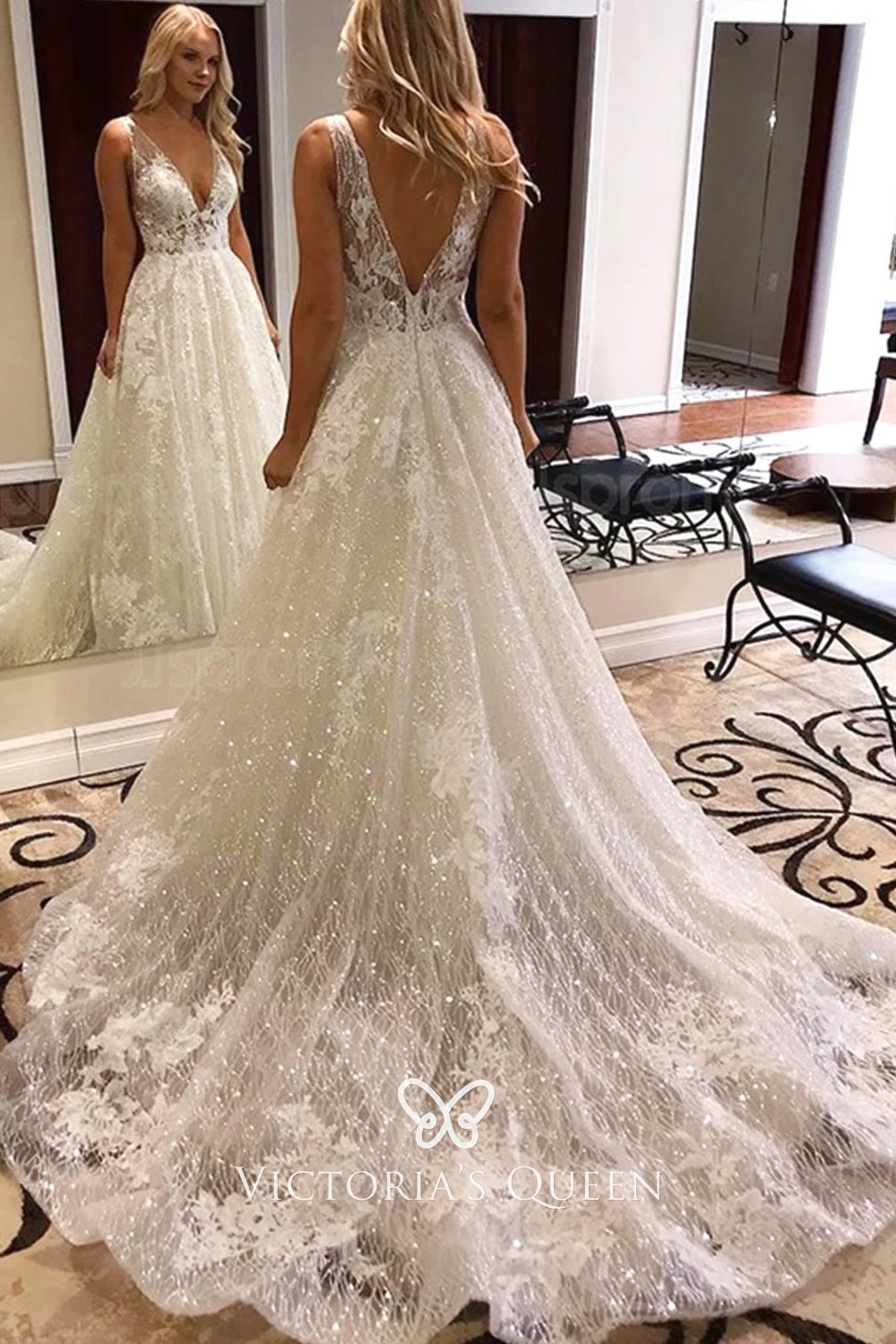 Glitter Mesh Lace Plunging V Neck Fall Wedding Dress