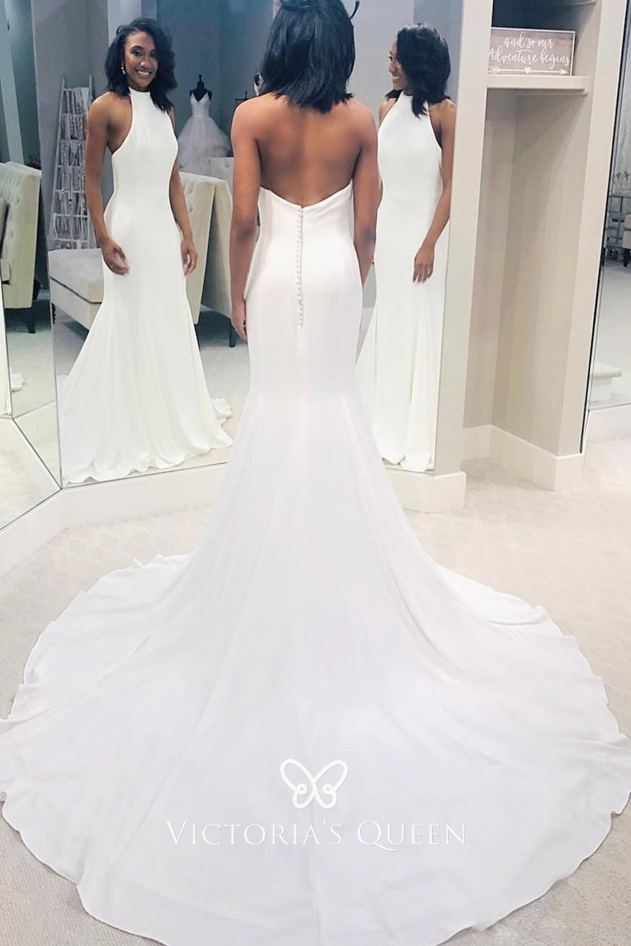 Low Back With Buttons Chapel Train Simple Wedding Dress Vq