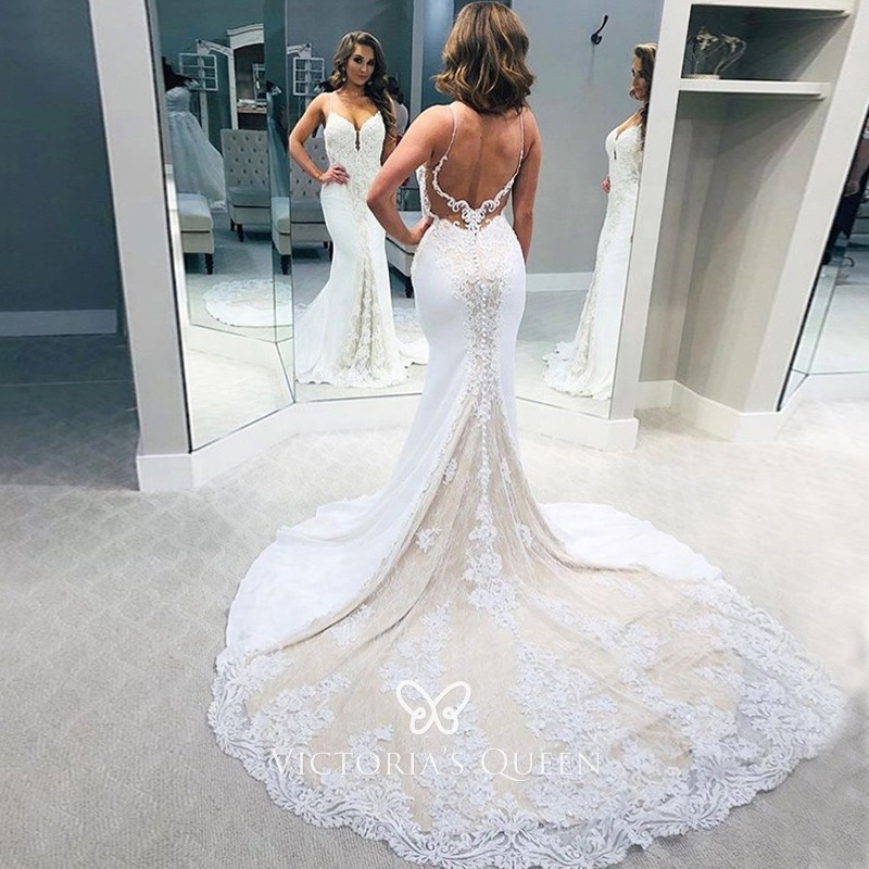 Nude Lining Lace Satin Mermaid Unique Wedding Dress Vq,Dress For Summer Wedding Guest