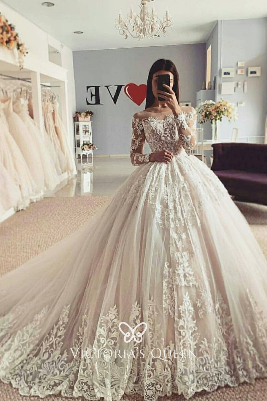 Illusion Long Sleeve Lace Tulle Winter Bridal Ball Gown   VQ