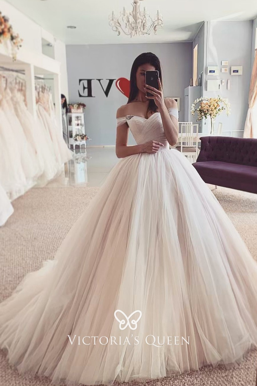 Off The Shoulder Ruched Tulle Princess Bridal Ball Gown Vq
