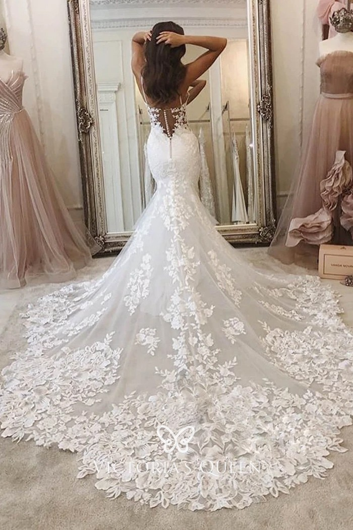 Sweetheart Neck Floral Lace Mermaid Fall Wedding Dress Vq