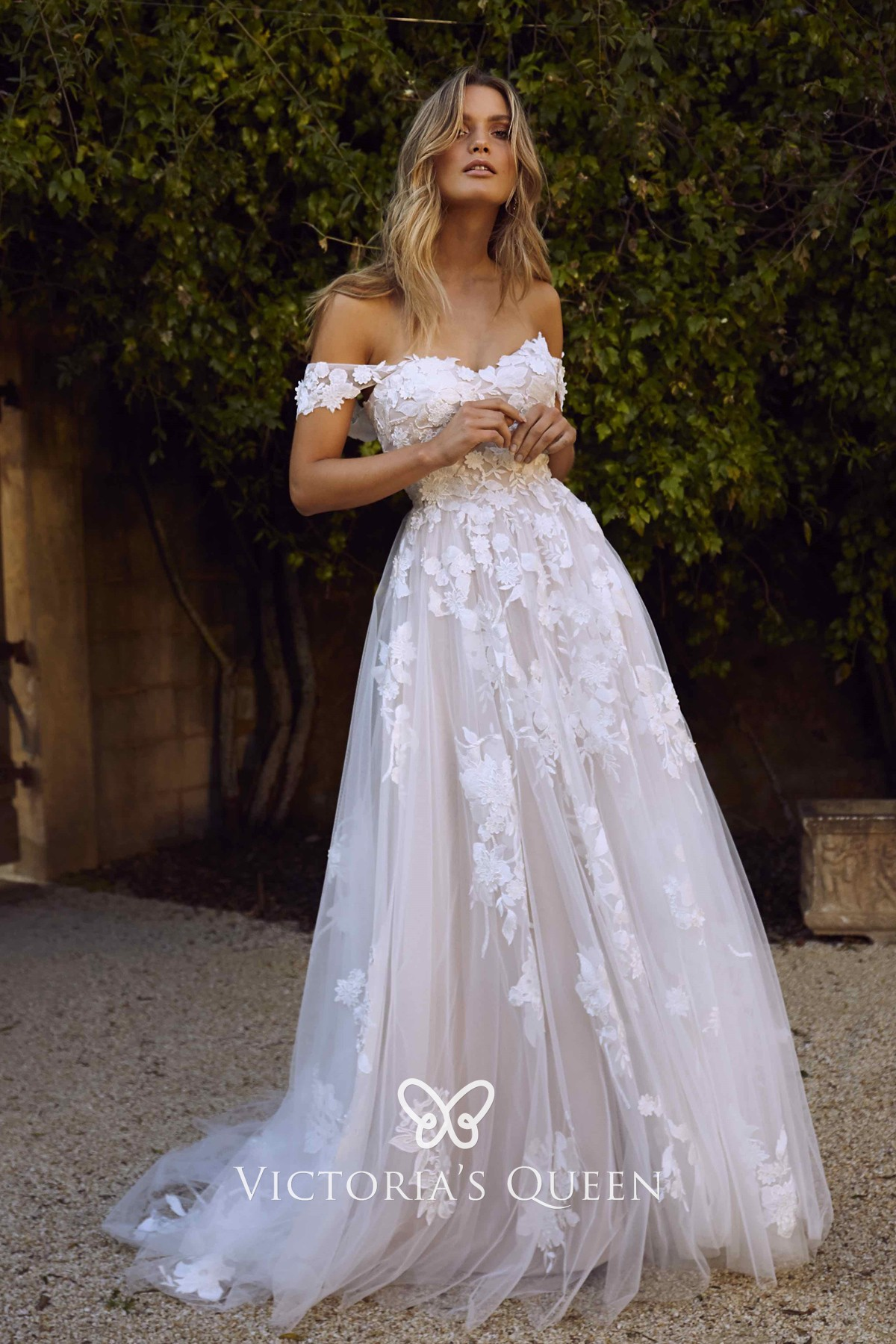 Floral Lace & Tulle Off-shoulder Boho Wedding Dress